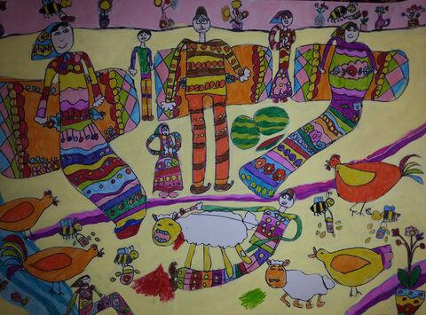 تارا جعفری 5 ساله از مرکز 2 کرمانشاه برگزیده مسابقه نقاشی بلاروس