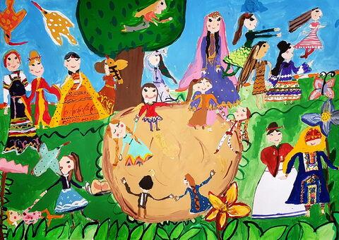 «سارینا سهیلی» 10 ساله، عضو مرکز مجتمع کانون کرمانشاه برنده دیپلم افتخار مسابقه نقاشی کودکان آسیایی چین