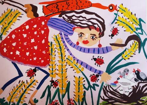 «مهرسانا بیگزاده» ۸ ساله از کرمانشاه دارنده لوح تقدیر و نشان برنزی مسابقه بینالمللی نقاشی کودکان انجمن هیکاری کشور ژاپن