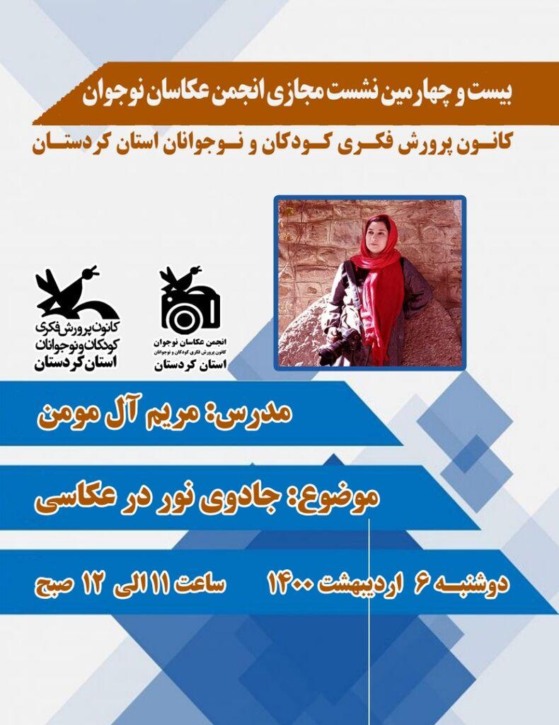 24 نشست مجازی انجمن عکاسی استان کردستان برگزار شد