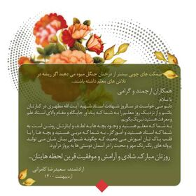 پیام تبریک مدیر کل کانون فارس به مناسبت روز معلم