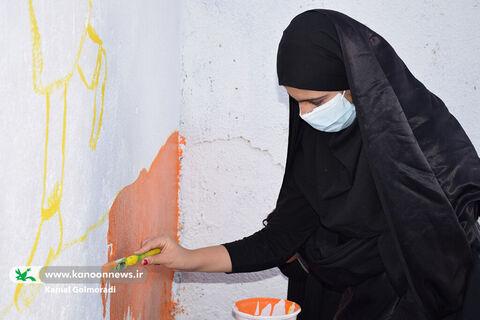 نقاشی های کانون بر روی دیوارهای محله فلک الدین خرم آباد