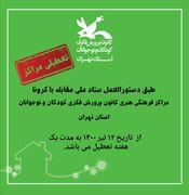 موج جدید کرونا مراکز کانون استان تهران را به تعطیلی کشاند.