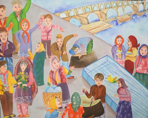 نقاشی «ریحانه علیزاده» نوجوان ۱۷ ساله عضو مرکز شماره ۲ کانون اصفهان  برنده نشان طلا از چهارمین مسابقه بینالمللی نقاشی کشور رومانی