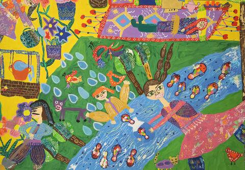 نقاشی «ملیکا امجدیان» ۱۱ ساله ازمرکز مجتمع کانون کرمانشاه برنده نشان نقره ازچهارمین مسابقه بینالمللی نقاشی کشور رومانی