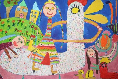 نقاشی«پرناز گودرزی» ۷ ساله هر دو عضو کانون کرمانشاه برنده جایزه ویژه از چهارمین مسابقه بینالمللی نقاشی کشور رومانی